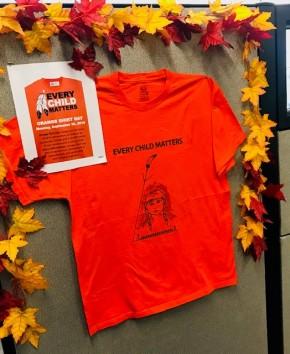 Every Child Matters orange t-shirt display
