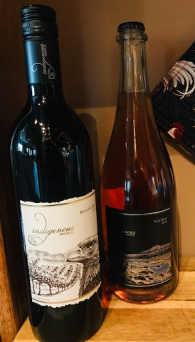 Two bottles of Indigenous world wine La'p Cheet and Marechal Foch